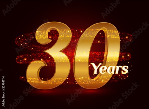 Cuadros en Lienzo 30 years golden anniversary 3d logo celebration with glittering spiral star dust trail sparkling particles