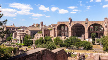 Basilica Of Constantine Seen From The Palatine, Roman Forum, Rome, Italy.