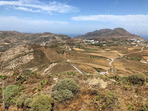 Landscape by Exobourgo Castle or Saint Elena Fortress near Xinara in Tinos island, Greece.