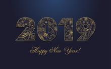 20 19 Xmas Greeting. Golden Luxurious Congratulation Logotype, Congrats Template Design, Abstract Isolated 3d Graphic Dark Blue Night Bg. Retro Style Emblem. Congratulates Digits. Calender Elements