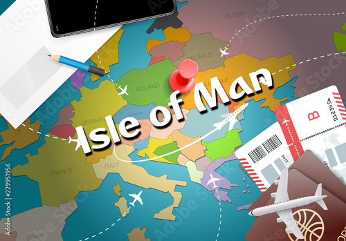 Photo  Isle of Man travel concept map background with planes, tickets