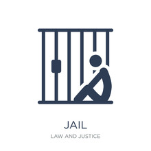 Jail Icon. Trendy Flat Vector Jail Icon On White Background From Law And Justice Collection