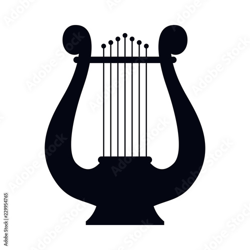Icon lyre, stringed musical instrument. Vector illustration. Canvas Print