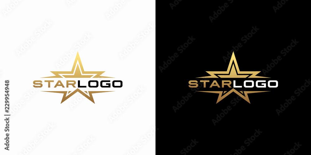 Fototapety, obrazy: Modern gold star logo design vector. Stars logo design concept
