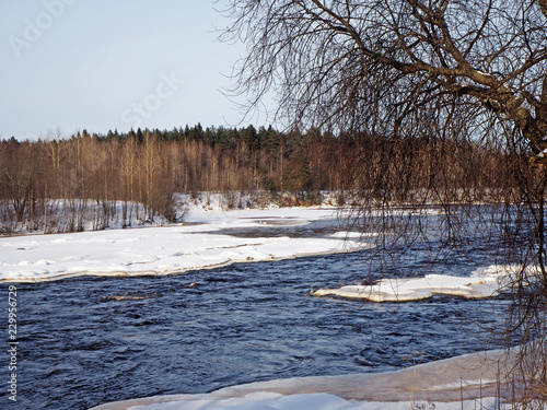 Deurstickers Rivier river in Karelia