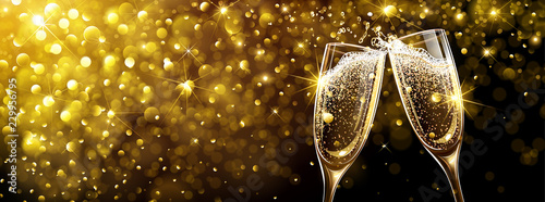 Vászonkép New Year's background with Champagne
