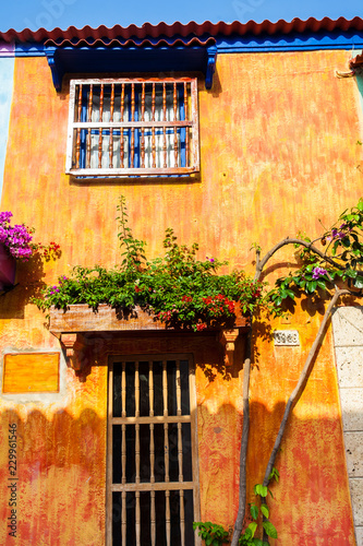 Fotobehang Zuid-Amerika land The colorful colonial houses at the walled city of Cartagena de Indias