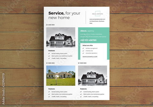 Real Estate Flyer Layout With Teal Accents Acheter Ce Template