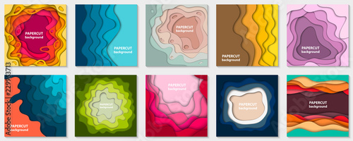 Fotografia Vector collection of 10 backgrounds with colorful paper cut shapes