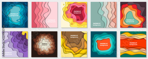 Fotomural Vector collection of 10 backgrounds with colorful paper cut shapes