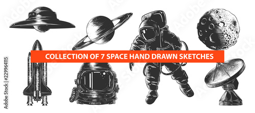 Obraz na plátně Vector engraved style space or cosmic collection for posters, decoration and print