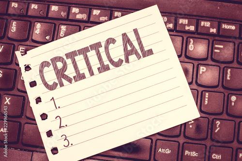 Fotografía  Handwriting text writing Critical