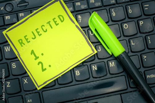 Fotografija  Handwriting text Rejected