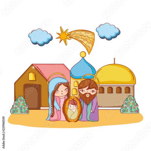 Christmas nativity scene cartoon Fototapete