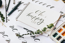 Closeup View Of Papers With Calligraphy