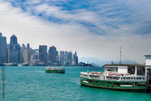Fotografía Hong Kong, star ferry terminal and skyline