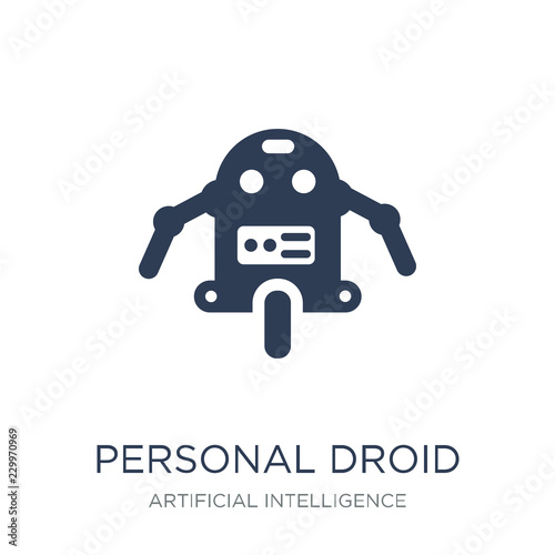 Photo Personal droid icon. Trendy flat vector Personal droid icon on w