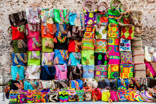 Fotobehang Zuid-Amerika land Street sell of handcrafted traditional Wayuu bags at the walled city of Cartagena de Indias