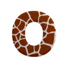Giraffe Letter O - Upper-case 3d Fur Font - Safari, Wildlife Or Africa Concept