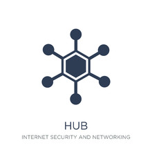 Hub Icon. Trendy Flat Vector Hub Icon On White Background From Internet Security And Networking Collection