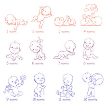 Set Of Child Health And Development Icons.  Presentation Of Baby Growth From Newborn To Toddler With Text. First Year. Cute Boy Or Girl Of 0-12 Months. Vector Color Illustration. Design Template.