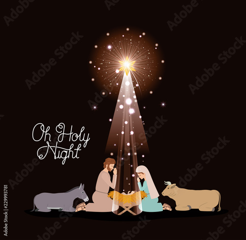 Fototapeta christmas card with holy family and animals