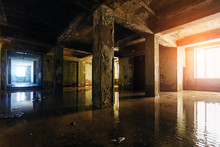 Dark Rotten Ruined Flooded By Rains Abandoned Building