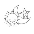 Moon and sun cartoons in black and white