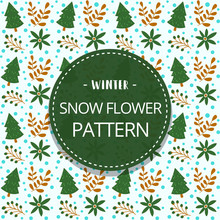 Vector Doodle Pine Tree Natural Winter Illustration Seamless Pattern Background Template