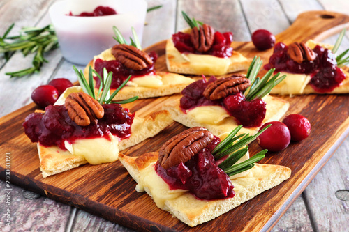 Holiday flatbread appetizers with cranberries, pecans and brie cheese. Close up table scene on a wooden platter.