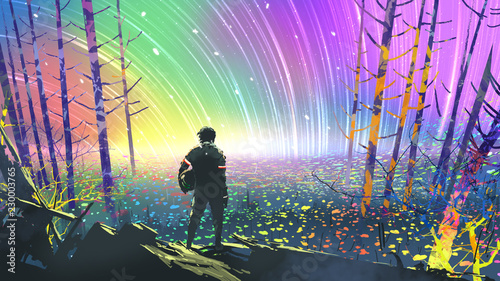 Fotografía scenery of the explorer looking at flower fields in colorful planet, digital art