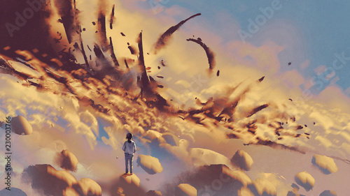 surreal scenery showing the girl looking at mysterious things on clouds, digital art style, illustration painting