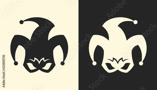 Jester or clown symbol. Angry joker sign icon. Wallpaper Mural