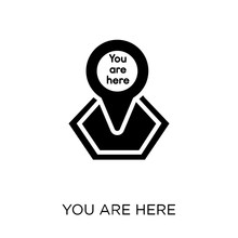 You Are Here Icon. You Are Here Symbol Design From Maps And Locations Collection.