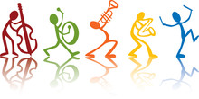 Band Musicians Playing Music, Vector Ideal For T-shirts Colorful