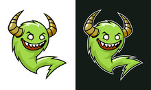 Cartoon Troll With Horns. Green Laughing Monster.
