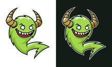 Cartoon Troll With Horns. Gree...