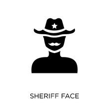 Sheriff Face Icon. Sheriff Face Symbol Design From People Collection.