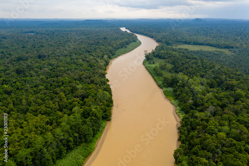 Fotomural  Aerial drone view of a long winding river through a tropical rain forest
