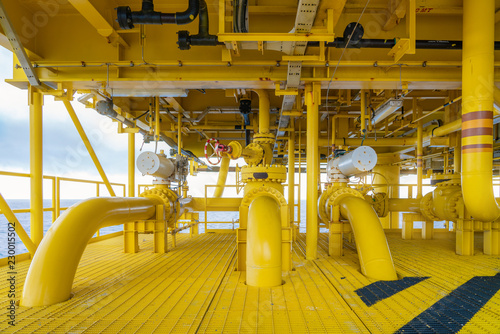 Vászonkép  Offshore pipe, riser and sealine on oil and gas wellhead hub remote platform, the central facility to combine gases and crude together before set to central processing platform