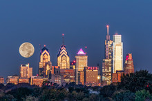 Full Moon Setting Behind Phila...