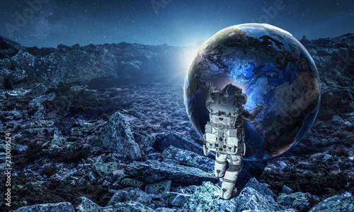Fotobehang Nasa Spaceman and his mission. Mixed media