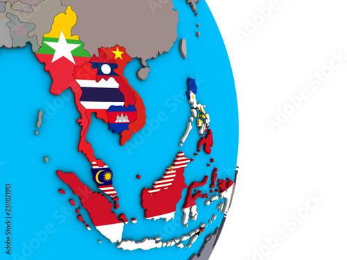 South East Asia with embedded national flags on simple political 3D globe Wallpaper Mural