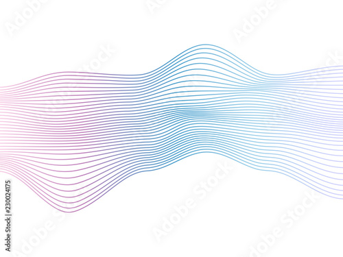Fotografie, Obraz  Abstract vector colorful wave lines isolated on white background for design elem