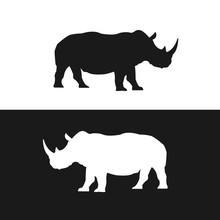 Rhino Black And White Silhouettes Vector