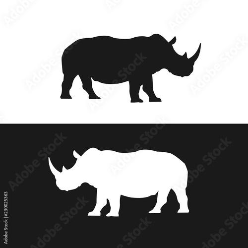 Tablou Canvas Rhino black and white silhouettes vector