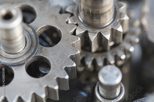 Fotografie, Obraz  engine gear wheels, industrial background,