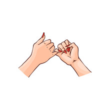 Vector Illustration Of Two Female Hands Hook Each Other Little Finger In Sketch Style Isolated On White Background. Hand Drawn Woman Wrists With Gesture Mean Promise And Friendship.