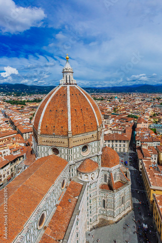 Spoed Foto op Canvas Florence Florence Cathedral and the city of Florence, Italy viewed from Giotto's Bell Tower
