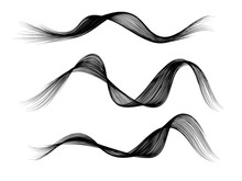 Set Of Vector Black Curved Wavy Lines Brush Stroke Isolated On White Background For Design Element